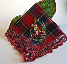 Handkerchief Hanky Hankie Hankys Antique Handkerchief Vintage Hankerchief Scotland Red Tartan Bagpipes Souvenir
