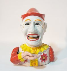 Antique Mechanical Cast Iron Clown Bank by BeanzVintiques on Etsy, $35.00