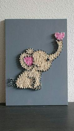 Babygirl olifant string-art selfmade