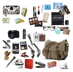 """""""What's in Riz's bag (supernatural)"""" by riz-lane ❤ liked on Polyvore featuring Revolver, Smith & Wesson, Streamlight, Dot & Bo, Neutrogena, Apex, Eyeko, Lancôme, Essie and Borghese"""