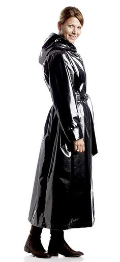 Black PVC Hooded Raincoat