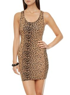 Rainbow Shops Sleeveless Leopard Print Short Dress with Racerback $9.99