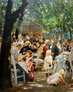Max Liebermann - Beer Garden in Munich, 1884 at Neue Pinakothek Munich GermanyListed in the book - 50 Impressionism Paintings You Should Know