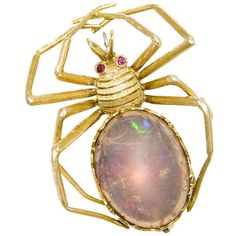 Spider brooch with Jelly Opal Body - N. Green and Sons, found on polyvore.com