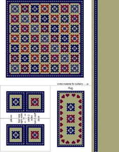 Quilt print set with matching pillows and rug, print on fabric sheets for best results Diy Dollhouse, Dollhouse Miniatures, Bathroom Printable, Miniature Quilts, Fabric Rug, Diy Ornaments, Dollhouse Accessories, Quilt Bedding, Miniture Things