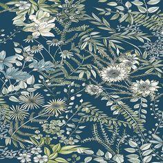 2821-12902   Full Bloom Navy Floral Wallpaper   Wallpaper Boulevard