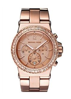 Michael Kors Watches Michael Kors Ladies Dylan Glitz Chronograph Rose Gold Dial $244.00