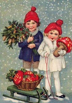 old christmas card Vintage Christmas Images, Victorian Christmas, Retro Christmas, Vintage Holiday, Christmas Pictures, Christmas Art, Christmas Greetings, Christmas Postcards, Christmas Mantles