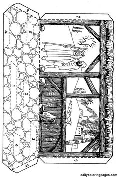 nativity diorama christmas coloring pages 03 Outdoor Nativity, Diy Nativity, Christmas Nativity Scene, Childrens Christmas, Christmas Art, Nativity Scenes, Jesus Coloring Pages, School Coloring Pages, Kids Christmas Coloring Pages