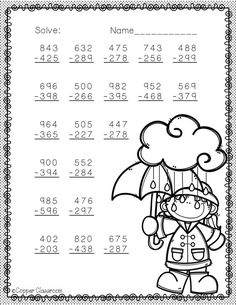 Spring Themed 3 Digit Subtraction With Regrouping Math Practice Worksheets, Printable Math Worksheets, Subtraction Worksheets, 1st Grade Worksheets, School Worksheets, Math Vocabulary, Kindergarten Lessons, School Lessons, Math Lessons