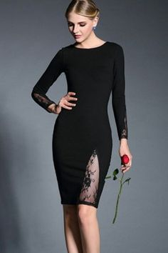 LUCLUC Black Embroidered Panel Scoop Dress