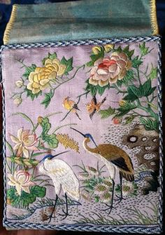 Rare Antique Chinese Silk Embroidered Purse Money Pouch