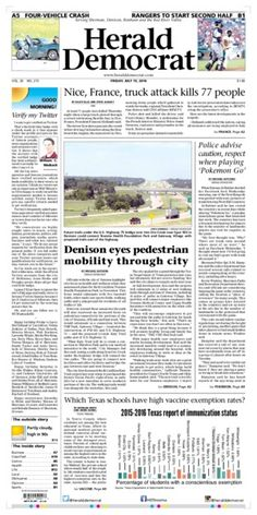 A preview of Friday's front page. See more at heralddemocrat.com.