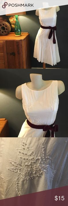 """Adrianna Papell White Fit & Flare Dress 100% cotton Adrianna Papell dress with faux pearls and embroidery. Side zipper, fully lined. Beautiful dress with cranberry velvet removable self tie belt. Up to 34"""" bust, 27"""" waist. 42"""" length. No stretch! Adrianna Papell Dresses Midi"""