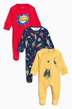 3-Pack Navy Rocket Sleepsuits Size 0-3/3-6   From Next: United States of America