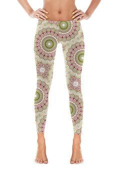 Boho Yoga Leggings. Rose Pink and Olive Green by ColorlightDesigns