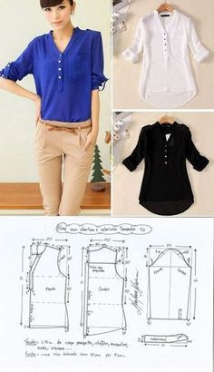 Trendy Sewing Blouse Tutorial How To Make Ideas Sewing Dress, Dress Sewing Patterns, Sewing Patterns Free, Blouse Patterns, Clothing Patterns, Sewing Diy, Sewing Tutorials, Costura Fashion, Sewing Clothes Women