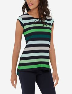 Colorful Striped Shell - Relaxed stripes have a playful look, in pops of color fit for work or play.