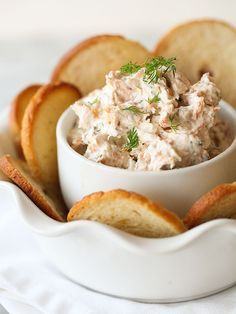 "Smoked Salmon Spread - This dip gains flavor the longer it ""cooks"".  Make it a day ahead and you'll find some extra delicious smoky flavor. No mayo in this recipe either!"