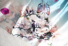 Floral / Bird Silk Scarf, Beautiful Vintage Shawl / Wrap, Pink and Blue