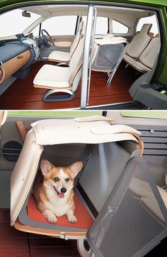 Honda WOW concept with pet crate in middle seat. Such a great idea.