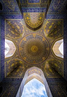 "groundcovers: ""Shah (emam) Mosque in Isfahan, Esfahan, Iran. Mohammad Domiri documents the intricacy of Iranian architecture Northern Iranian student Mohammad Reza Domiri Ganji has photographed these sacred structures in a series of panoramic. Persian Architecture, Historical Architecture, Beautiful Architecture, Art And Architecture, Beautiful Mosques, Beautiful Places, Beautiful Pictures, Iran Travel, Islamic Patterns"