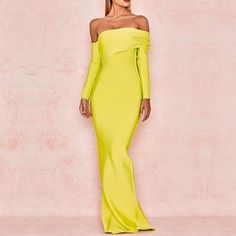 Adyce 2019 New Arrival Sexy Women Bandage Dress Long Sleeve Yellow Draped  Off Shoulder Long Maxi Celebrity Evening Party Dresses 89f3f8e7c945