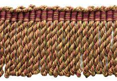 6 Yard Value Pack - 3 Inch Long Dark Claret, Branch Green, Oak Brown Bullion Fringe Trim Upholstery Trim, Bullen, Bramble, Upholstered Furniture, Fringe Trim, Swatch, Valances, Traditional, Green