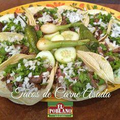Así lucen nuestros tacos de carne asada! #ElPoblano #MexicanRestaurant #tacos #tacosdecarne #comidaMexicana