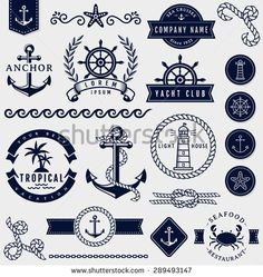 Set of sea and nautical decorations isolated on white background. Collection of elements for company logos, business identity, print products, page and web decor or other design. Vector illustration. - stock vector