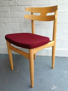 Replica Matt Blatt HW Klein Bramin DINING CHAIR American Oak Deep Red Upholstery