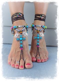 ~ Unique design by GPyoga ~    This listing is for a pair of barefoot sandals with Taupe BROWN cording,  exclusive of the anklets!  (Ankle bracelets are