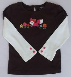 Gymboree Woodland Friends Brown Double Sleeve Fox Shirt Sz 3 3T NWT #Gymboree #DressyEveryday