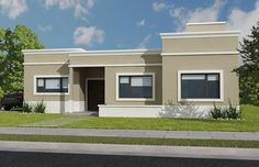 parthenon molduras para exterior x Flat Roof House, Facade House, Free House Plans, Modern House Plans, House Paint Exterior, Exterior House Colors, Flat Roof Systems, Casas Country, Three Bedroom House Plan