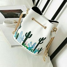 Felice Womens Mini Bucket Purse Cactus Embroidery Crossbody Bag with Chain Strap Drawstring Satchel Purse for Girls (White) Satchel Purse, Backpack Purse, Purses And Handbags, Leather Handbags, Cute Mini Backpacks, Vintage Backpacks, Girls Bags, Cute Bags, Crossbody Shoulder Bag