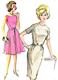 1960s Dress Pattern McCalls 6759 Day or Evening Full Skirt or Sheath Dress Womens Vintage Sewing Pattern Bust 36