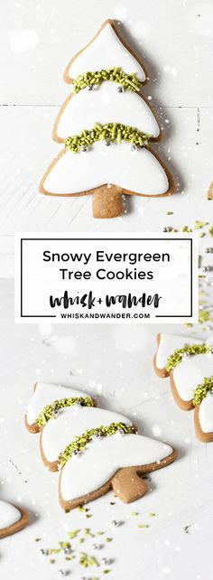 Snowy evergreen trees made with Martha Stewart's Martha by Mail evergreen cookie cutter. Gingerbread cutout cookies, all natural sprinkles and royal icing. via /whiskwander/