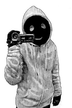 A smiling figure worthy of being in a creepypasta films the viewer, the childishly drawn face never leaving your eyes. Creepypasta Proxy, Hoodie Creepypasta, Creepy Art, Creepy Drawings, Hooded Sweatshirts, Hoodies, Jeff The Killer, Scary Stories, Slender Man