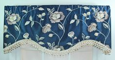 Navy or ivory embroidered faux silk shaped valance by VieDeJolie, $69.99