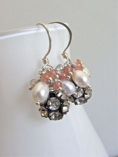 The Parfait earrings - vintage brass and crystal beads nestle between freshwater pearls and gemstones clusters - all housed on hand forged sterling ear wires.