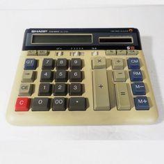 Vintage Sharp Calculator EL-2135 Twin Power Solar Large Button Desk 12 Digits #Sharp