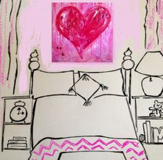 Juicy Pink and Berry Heart Original Painting for #Teen Room #Dorm 36 x 36