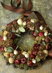 beautiful wreath - great colors for the wreath i am working on Wreath Crafts, Diy Wreath, Ornament Wreath, Wreath Ideas, Fabric Wreath, Wreath Making, Autumn Wreaths, Holiday Wreaths, Christmas Decorations