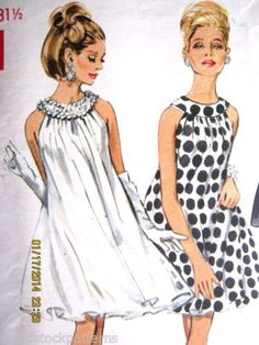 1960s Butterick 4735 GORGEOUS SWING EVENING DRESS B31.5 12.99+free 2/4/14 1bd
