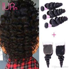 8A Brazilian Loose Wave Malaysian Indian Deep Wave Peruvian Virgin Human Hair Extensions Curly Hair 3 Bundles with 4x4 Lace Closure