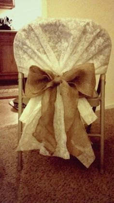 "DIY Wedding Chair Cover!! Aisle runner (half off) from Hobby Lobby and 6"" burlap ribbon!"