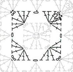 Crochet Motifs, Crochet Diagram, Crochet Chart, Crochet Squares, Granny Squares, Symbols, Bags, Ideas, Throw Pillows