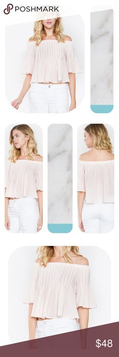 """💠 Adorlee Off The Shoulder Top 💠 Need the perfect blush top? Look no further! Our Adorlee Off The Shoulder Top is ready to sweep your lover off their feet! Pair with a skirt and heels to complete the look.  🌟 Pintuck detail off the shoulder top 🌟 Elastic top 🌟 100% Polyester 🌟 1/2 Ruffle Sleeve 🌟 Color: Blush  Size + Fit - Model is wearing size S - Measurements taken from size S - Chest: 37"""" Boutique Tops Blouses"""