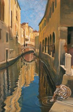 Washerwoman in Venice Ernest Bieler 1930