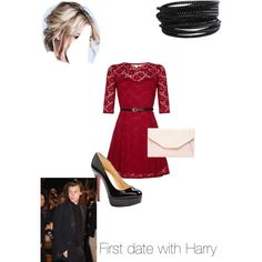First date with Harry by kaylee-schroeder on Polyvore featuring polyvore, fashion, style, Yumi, Christian Louboutin, Red Herring and Pieces